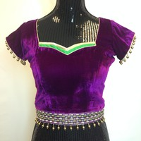 Designer Purple Velvet Readymade Party Wear Blouse