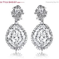 ON SALE TILL 4/6 Wholesale Ol Wedding Cz Cubic Zirconia Earrings for woman 2014 fashion jewelery drop dangle Earrings Bridal Earrings Bridal