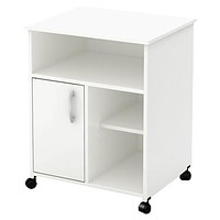 Modern Home Office Printer Stand Cart with Casters in White