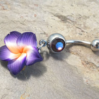 Purple Hawaiian Flower Belly Button Jewelry Ring Piercing