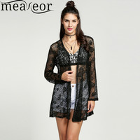 Meaneor Women Summer Autumn Beach Thin Breathable Outwear Sweater Coat Lace Hollow Out Crochet Long Cardigan Blouse Plus size