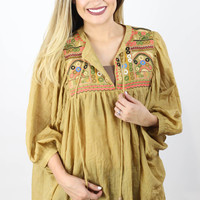 Mustard Embroidery Babydoll Top