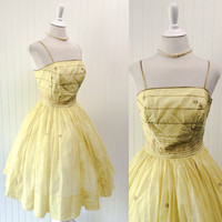 Sansa dress // 1950s sheer yellow cotton FULL sweep circle skirt pinup sundress // India gold metallic stripes & stars // size S 34 bust