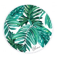 Personalized Round Towel - Palm Leaf