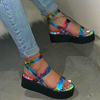 Women's Sandals Colorful Flat Platform Print Ladies Ankle Buckle Strap Sandalias Shoes Female Casual Woman