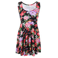 Floral Sleeveless Pleated Dress