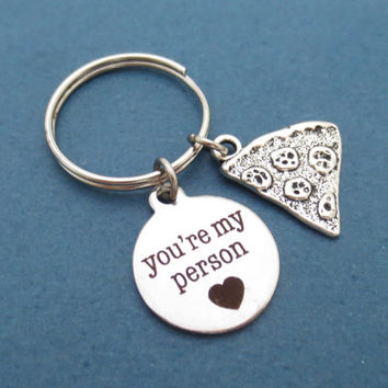 You'r my person, Pizza, Keyring, Keychain, Grey's Anatomy, Key ring, Birthday, Love, Friendship, Gift, jewelry, Accessories