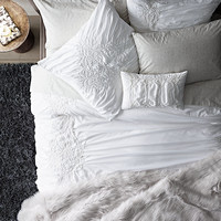 Gathered Embroidered Duvet Cover