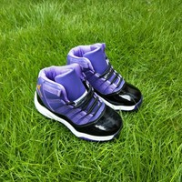 Kids Air Jordan 11 Black/Purple Sneaker Shoe Size US 11C-3Y