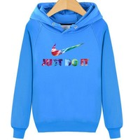 Nike just do it autumn and winter sweater hood hooded couple jacket Lake Blue