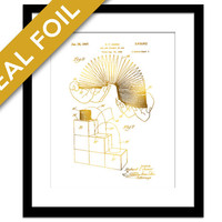 Slinky Toy Patent Illustration - Gold Foil Print - Slinky Poster - Classic Toy Art - Slinky Art - Retro Toy Poster - Blueprint - Science Art
