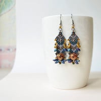 Original macrame earrings, tribal inspired earrings, bohemian earrings, brown blue earrings, beadwoven, unique beadwork, Picasso glass beads