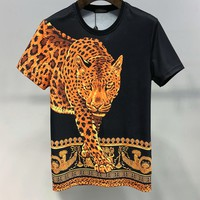 Versace Women Men Fashion T-Shirt Top Tee Black
