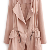 ROMWE   Lapel Selt-tied Elastic Pink Trench Coat, The Latest Street Fashion