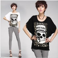 HQ Summer Women T-Shirt ONE CARES Letter Chain Printed Causal T-Shirts New 2016 Causal Women Clothing Skull Print  T Shirt Tops