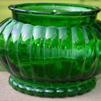 2 Forest Green Ribbed Oval Planters