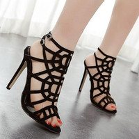 Sandalias Femininas Stilettos Lace Up Ankle Strap Shoes Black High Heel Sandals Sexy Rope Strappy Gladiator Sandals Women