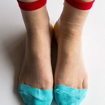 Women New Hezwagarcia Adorable Color Red Jade Yellow Sheer See-Through Ankle Socks Stocking Hosiery