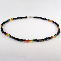 Black and Rainbow Seed Bead necklace .. Gay Pride necklace with black and rainbow glass seed beads and a magnetic clasp.
