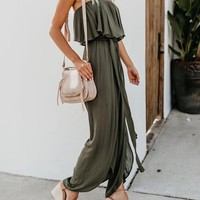 PREORDER - Walk Of Style Strapless Jumpsuit - Olive