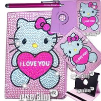 """Jersey Bling® Crystal PINK Kitty Google Nexus 7"""" 2nd GEN Tablet Faux Leather Case Cover Folio with FREE Jersey Bling® Stylus"""