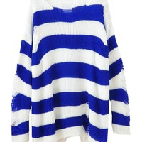Relaxed Style Stripes Contrast Color Cutout Knitwear