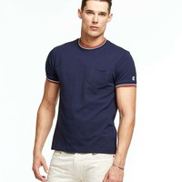 Tipped Piqué Pocket Crewneck T-Shirt in Navy