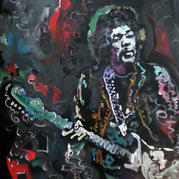 Jimi Hendrix Modern Expressionist Painting - 16x20 - Synesthesia Painting - Music Memorabilia - Original Handpainted Art on Canvas