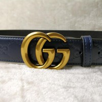 Gucci Blue Fashion Smooth Buckle Belt Leather Belt