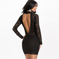 Black Halter Long Sleeve Backless Lace Mini Dress