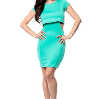 Mint Cut Out Scuba Dress