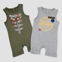 Junk Food Baby The Beatles 2pk Sleeveless Romper - Olive/Gray