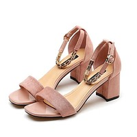 Chunky Short Heel Open-toe Ankle Wrap Sandals