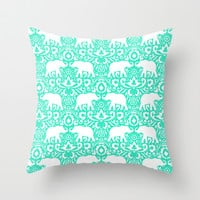 Elephant Damask Mint Throw Pillow by Jacqueline Maldonado