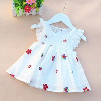 2016 summer cotton newborn baby dress print baby girl clothes fly sleeve infant princess dress lovely flower toddler party dress