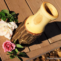 Mother's Day Rustic Log Vase Gift Flower Holder Rustic Wedding Table Centerpiece Country Home Decor