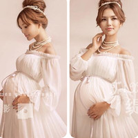 2016 Royal Style White Maternity Lace Dress Pregnant Photography Props Pregnancy maternity photo shoot long dress Nightdress
