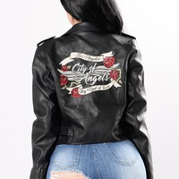 City Of Angels Faux Leather Jacket - Black