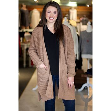 {Mocha} Chunky Knit Long Line Cardigan