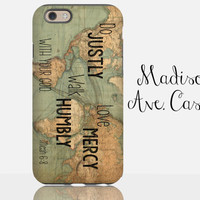 Act Justly Love Mercy Walk Humbly With Your God Micah 6:8 Christian Bible Verse Map Travel Vintage Adventure World Galaxy iPhone Phone Case