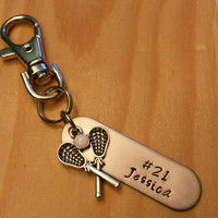 Hand Stamped lacrosse keychain - LAX keychain - lacrosse team gift