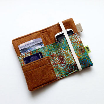 Teal chrysanthemums, iphone wallet, iphone 5, iphone 4, boho, earthy, natural, TLC Pouches, samsung, htc phone case, blue flowers