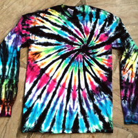 Tie-Dye T-Shirt, Men's Shirt, Long Sleeve Shirt, Inverted Rainbow Spiral
