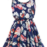 Purplish Blue Floral Print Sleeveless Mini Dress