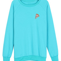 Blue  Printed Embroidered Pizza Sweatshirt