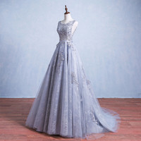 Silver Grey Long Lace Formal Evening Dresses Scoop Neck Backless robe de soiree Applique Beads Prom Gowns Graduation Dresses