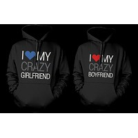 I Love My Crazy Boyfriend and Girlfriend Cute Matching Couple Hoodies