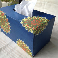 Blue Hanji Tissue Box Cover Handmade Flower Korean Traditional Paper