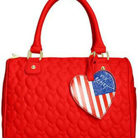 Betsey Johnson Quilted Hearts Satchel