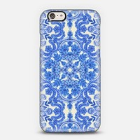 Cobalt Blue & China White Folk Art Pattern iPhone 6 case by Micklyn Le Feuvre | Casetify